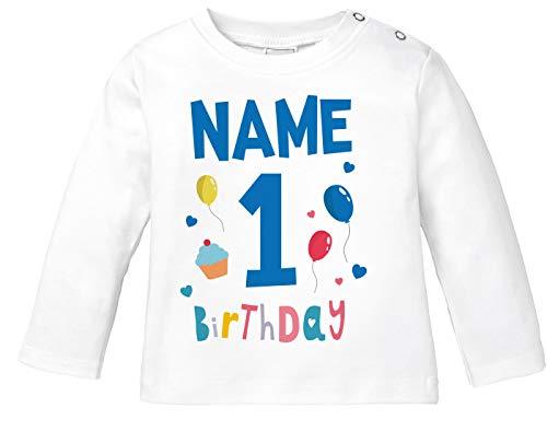 MoonWorks® Baby Langarm-Shirt 1. Geburtstag personalisiert Name erster Geburtstag Zahl 1 Birthday Geburtstagsshirt 1. Geburtstag weiß 80/86 (10-15 Monate)