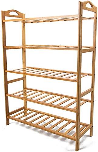 XWZH Zapatero a prueba de polvo, 5 niveles, estantes de bambú, estantes a prueba de polvo, estantes modernos y simples de madera maciza, estantes económicos para zapatos (tamaño: 52 cm)