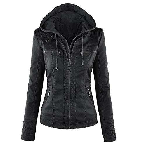 Tomasa Damen Lederjacke mit Kapuze, Lange Hülse doppeltes Zip Jacken Mantel Outwear