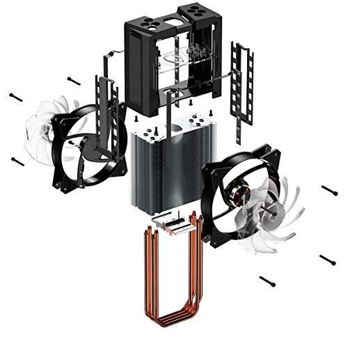 Cooler Master MA410M: unità di raffreddamento ad aria per CPU, sistema di raffreddamento tower, 4 tubi di scambio di calore, 2 ventole MF120R ARGB da 120mm, illuminazione RGB indirizzabile
