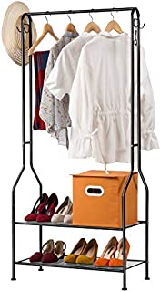 House of Quirk 2-Tier Entryway Metal Coat Rack and Shoe Bench Storage Stand with Single Rod and 4 Hooks for Home Office Bedroom - Black