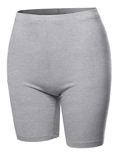 A2Y Basic Solid Cotton Mid Thigh High Rise Biker Bermuda Shorts Heather Grey L