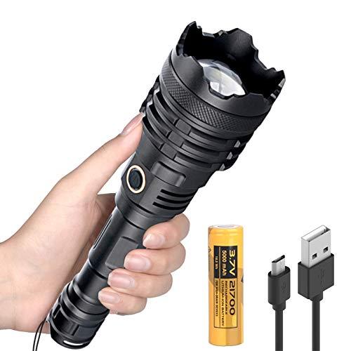 Linternas XHP110 LED Alta Potencia, Super Brillante 10000 Lúmenes 5 Modos Potente Linterna con Zoom, Impermeable, Iluminación Exterior para Acampar, Policial, Militar (21700 Batería Inclinada).