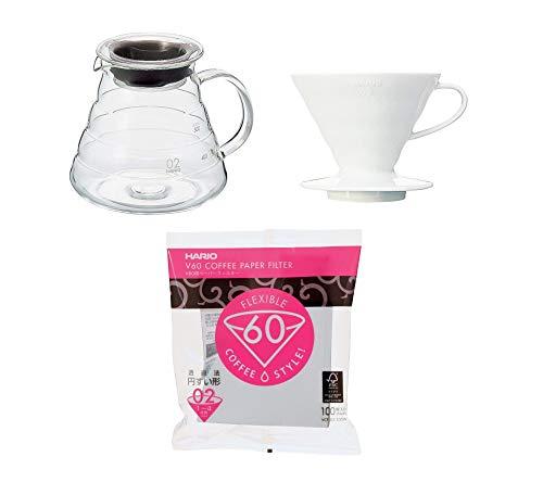 Hario Kaffee Set Kaffekanne mit passendem Kaffefilter & Filterpapier Größe 2 XGS-60TB + VDC-02W + VCF-02-100W + Gratis 4er Set EKM Living Trinkhalme