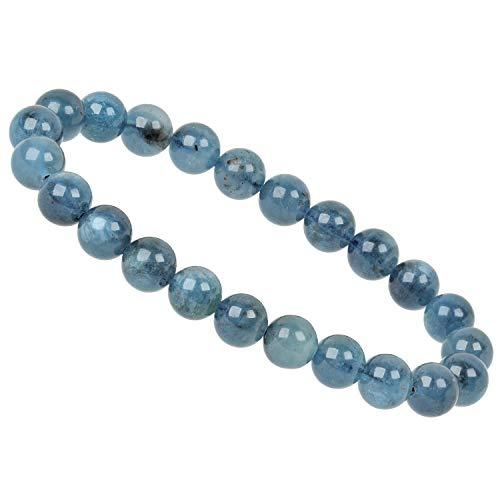 ELEDORO PowerBead - Pulsera elástica de perlas de piedras preciosas de 8 mm, color azul oscuro