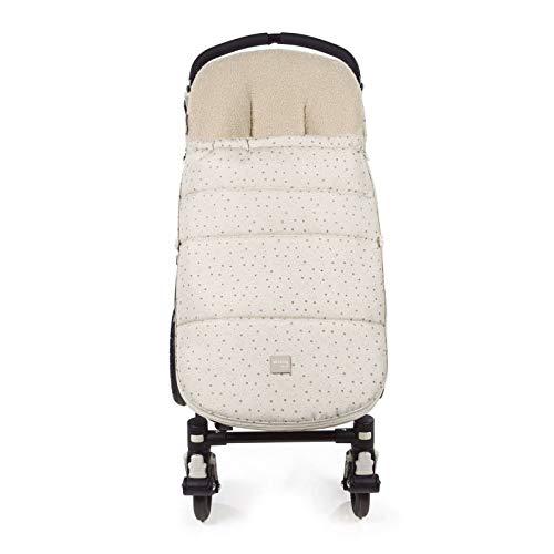 Walking Mum. Saco silla de paseo Dreamer. Funda para silla de paseo. Uso universal y compatible con la mayoría de los coches y portabebés. Color Beige/Estampado de estrellas. Medidas 50 x 3 x 88 cm