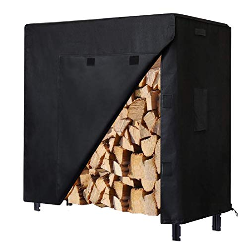 Lowest Price! Onlyme Firewood Rack Cover 600D Heavy Duty Log Rack Cover 4ft, Waterproof, Windproof, ...