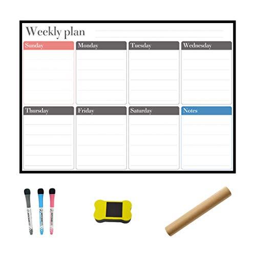 JHD A3 Planificador semanal magnético Pizarra Blanca Imán de Nevera Mensaje Diario Dibujo Refrigerador Boletín Notas