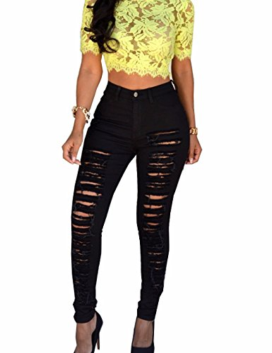 Sexyshine Women's High Waisted Knee Skinny Distressed Ripped Hole Denim Pants Boyfriend Pencil Jeans(BL,M)
