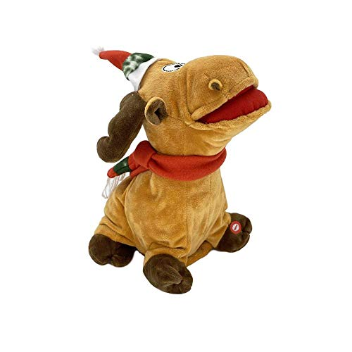 Buding Singing Christmas Decorations Christmas Singing Dancing Toys Singing Reindeer,Christmas Plush Doll Electric Battery Powered Music Deer Toy