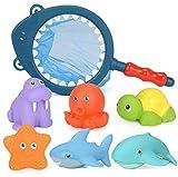 BETOY Spritztier-Set, 7 Stück, Mit bunten Unterwassertieren, Badetiere Badewanne Spielzeug Geschenkset für Kinder,badespielzeug für Kleinkinder- Fisch,Seepferdchen,Schildkröte,Seestern