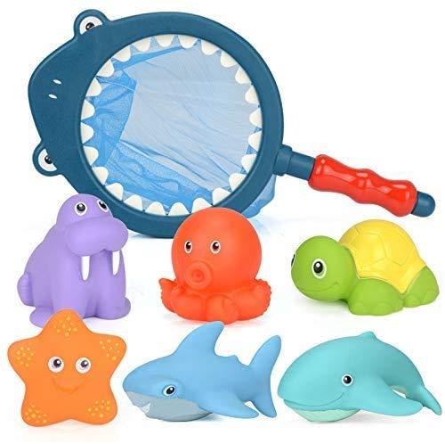 BETOY 7 PCS Juguete de Pesca Baño a Los Niños Niña Educativos, Animales bebé Juguetes de Baño de Goma Flotante apretar Sonido Lavado Baño Swim Buceo Animales
