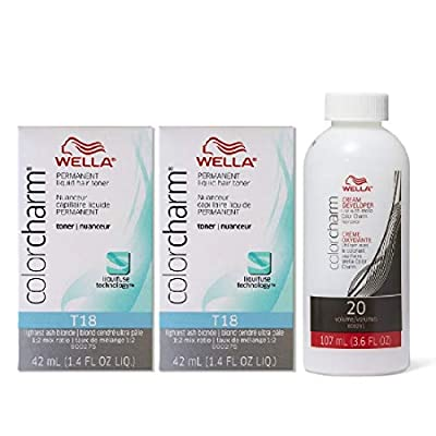 Color Charm Hair Toner T18 Lightest Ash Blonde 1.4 oz (2 Pack) + Cream Developer 20 Volume 3.6 oz