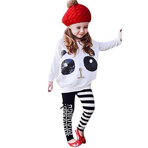 MAYOGO Conjunto Bebe Niña Manga Larga Lentejuelas y Pantalones Rayas Ropa Bebe Niña Conjuntos Panda Lindo Traje de bebé niña Sudadera Invierno Dos Piezas 2-7 Años