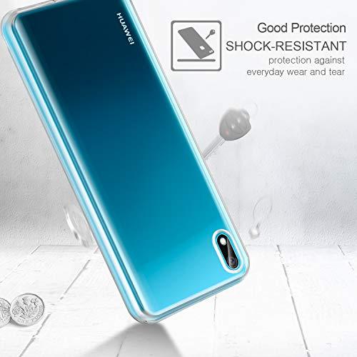 Leathlux Huawei Y5 2019 Hülle + [2 Pack] Panzerglas, Huawei Y5 2019 Durchsichtig Case Transparent Silikon TPU Schutzhülle Premium 9H Gehärtetes Glas für Huawei Y5 2019 - 3