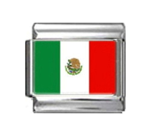 Stylysh Charms Mexico Mexican Flag Photo Italian 9mm Charm PC116 Fits Nomination Classic