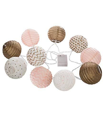 AC-Déco Guirlande LED 10 Boules - L 190 x D 10 cm - Papier - Doré