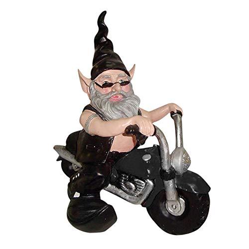 Gartenzwerg Mit Motorrad,Dekofigur Biker Mit Lederjacke,Motorradfahrer Gartenzwerg Statue,Harz Figur Garten Gnom Dekorationen Für Patio Yard Lawn Porch,Lustige Rasenstatue,Perfekte Geschenkidee(1 Pcs)