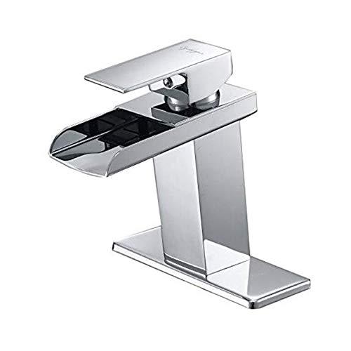 BWE Waterfall Bathroom Faucet Chrome Polished Modern Sink Bath Single Hole Handle Lavatory Vanity...