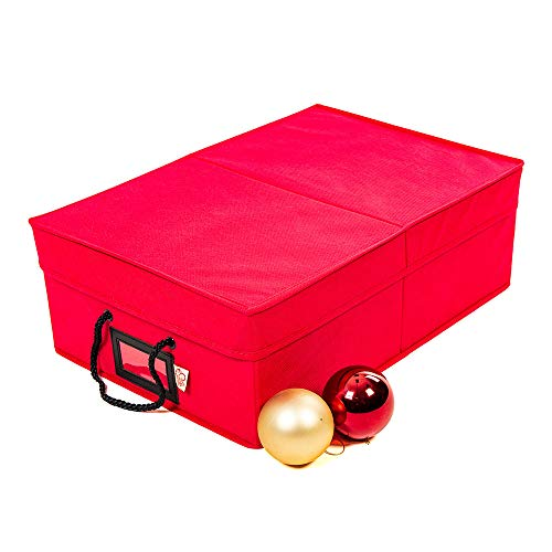 Santas Bags Christmas Ornament Storage Box with Dividers - Holds 48 Ornaments up to 3 Inches in Diameter  Acid-Free Removable Trays with Separators  2 Removable Trays - Red