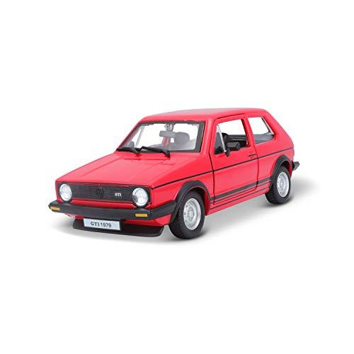 Bburago VW Golf 1 GTI (1979): Modellauto im Maßstab 1:24, Türen zum Öffnen, 19 cm, rot (18-21089R)