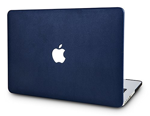 KECC MacBook Pro 13 Case (2020/2019/2018/2017/2016) Italian Leather Cover Folio A2289/A2251/A2159/A1989/A1706/A1708 Touch Bar (Navy Blue Leather)