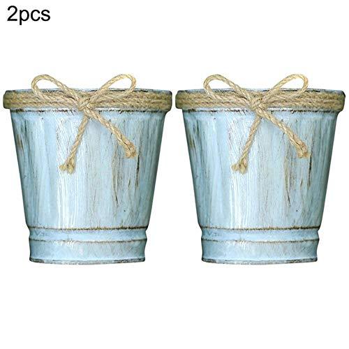 Juecan 2 stuks ijzeren badkuip, retro emmer voor bloemen van ijzer met handvat van jute touw, houder voor bloembakken en vintage 3