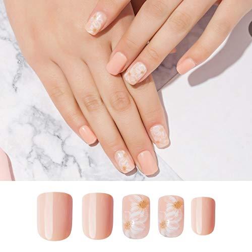 Doreliss Falsche Nägel 30 Stück Kurze Quadrat Gefälschte Nägel zum aufkleben Rosa