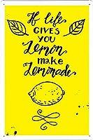 2個 人生があなたにレモンを与えるならレモネードを作る黄色いブリキのサイン金属プレート装飾的なサイン家の装飾プラークサイン地下鉄の金属プレート8x12インチ メタルプレート レトロ アメリカン ブリキ 看板