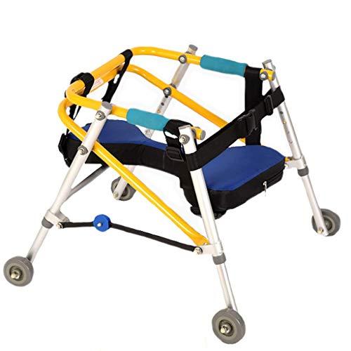GYDXY Andador direccional para niños de Cuatro Ruedas, Andador con Ruedas/Andador con Bastidor de Soporte de Entrenamiento, Andador de parálisis Cerebral, Plegable, Amarillo