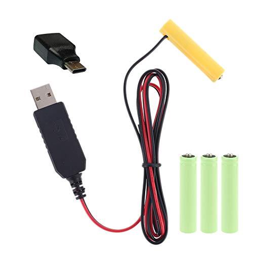 LOLOVI WANMEI LR03 AAA Eliminador de batería USB o tipo C Cable de alimentación reemplazar 1-4pcs AAA batería para juguete eléctrico linterna reloj