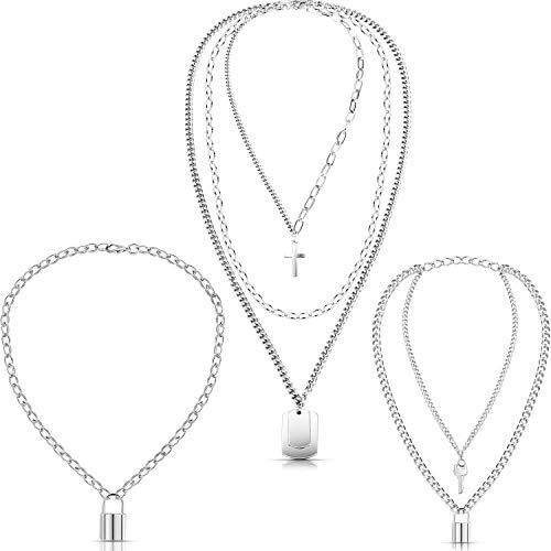 Hicarer 3 Pieces Punk Chain Choker Lock Pendant Necklace Long Multilayer Chunky Choker (Lock Key Multi-Layer Style)