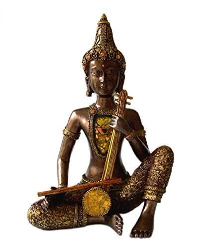 Trendfinding Figura decorativa de Buda con guitarra