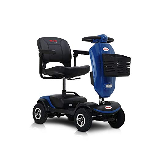 Metro Mobility USA Patriot Compact Travel Electric Power Mobility Scooter for Adults - 265 lbs Max Weight,4 Wheel, 18 in Width Thick Leather Seats, Large Capacity Lead-Acid Battery - Blue