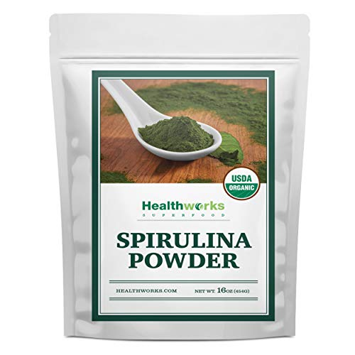 Healthworks Spirulina Powder Organic Raw (16 Ounces / 1 Pound) | All-Natural & Non-Irradiated Algae | Great with Smoothies, Shakes & Oatmeal | Antioxidant Superfood