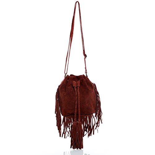 BACCINI® Borsa sacchetto vera pelle SANDRA piccolo Borsa a tracolla Borsa sportiva donna cuoio rosso