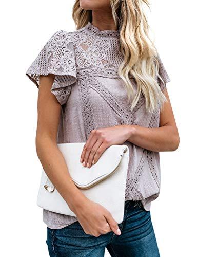 ZXZY Women Cute Lace Blouse Top Short Sleeve Lace Hollow Out Turtle Neck T Shirt Purple