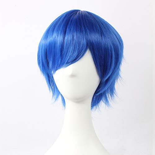 HOOLAZA Blaue, kurze geschichtete Perücke Vocaloid Kaito Fairy Tail Jellal Fernandes für die Halloween-Party-Cosplay-Perücken(EINWEG)