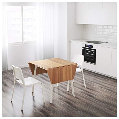 Tok Mark Traders IKEA PS 2012 / TEODORES Mesa y 2 sillas, color blanco bambú blanco duradero y fácil de cuidar. Conjuntos de comedor de hasta 2 plazas, mesas y escritorios, muebles ecológicos