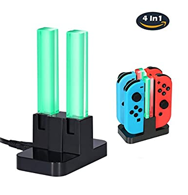 Nintendo Switch Joy-Con Charging Dock, niceEshop(TM) 4 in 1 Joy-Con Charger Stand with TYPE-C Charging Port and LED Indicator for Nintendo Switch Joy-Con Controllers