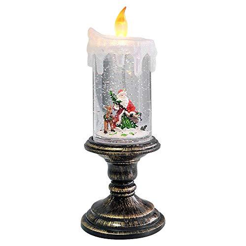 ZLYCZW Weihnachten Schneekugel Kerze, batteriebetriebene brennende flammenlose Kerzen, beleuchtete Wasser Kugel Laterne für Weihnachten Decorationa und Geschenke