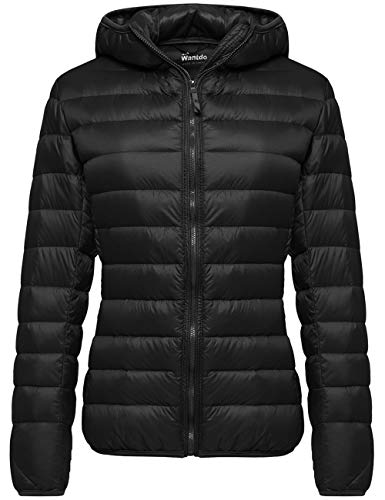 Wantdo Women's Ultra Light Down Jacket Winter Packable Warm Coat Black Medium