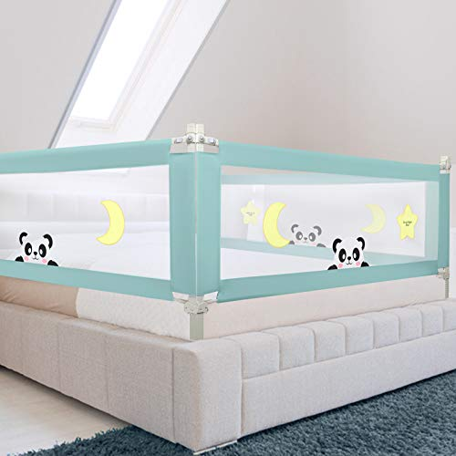 "Adjustable Bed Rails for Toddlers, Silent Vertical-Lifting Guard Rail, Extra-Long Safety Bedrail for Twin, Double, Full-Size Queen and King Mattress (1 Side, Greeen, 59"" L x 28"" H)"