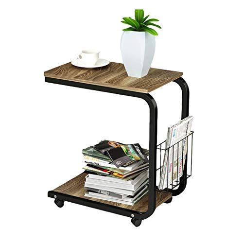 WGZ Bijzettafel, aan de zijkant, eenvoudige salontafel, multifunctioneel, klein nachtkastje, mobiel, woonkamer, mini-bank, bijzettafel, eenvoudig