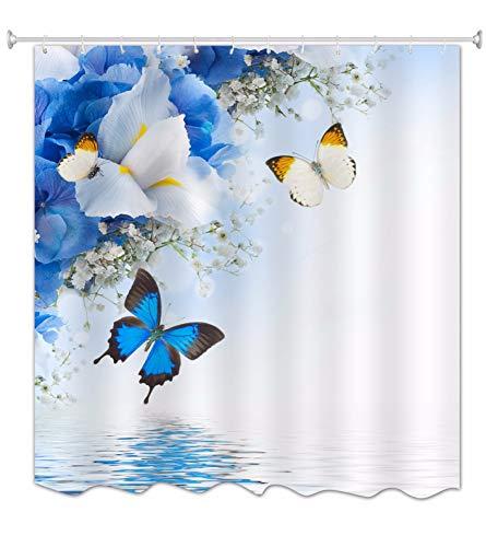 A.Monamour Cortinas de Regadera Cortinas de Ducha Hortensias Azules Blancas Y Flores De Iris Y Mariposa Lago Agua Zen Fondos De...
