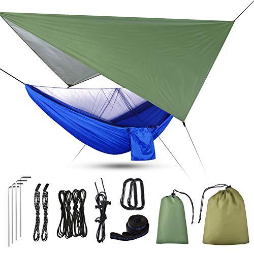Uong Hamac de camping 3 en 1 avec moustiquaire à fermeture éclair et bâche - Capacité de charge...