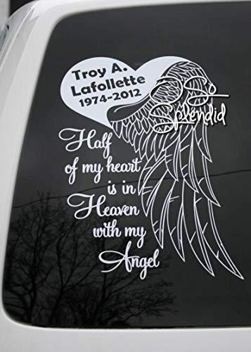 Half My Heart is in Heaven with My Husband - Gepersonaliseerde Memorial for Car Window Decal - Hart & Engel Vleugel in Memory of Sticker in Memory