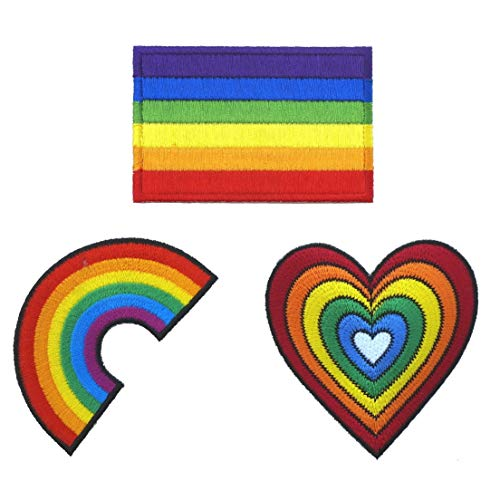 Graphic Dust Lot of 3 Rainbow Flag Heart Sign Gay LGBT Lesbian Embroidered Iron on Patch Logo Gay Pride Festival Rights Love DIY Sign Symbol