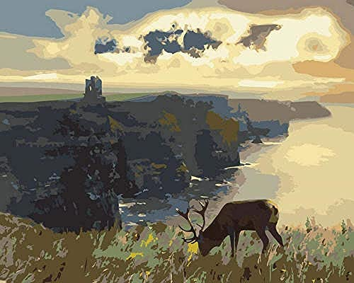 Jellyllyy por número pintura niños adultos nuevos colonos pradera y omler feliz pintura al óleo pintura acrílica pared 40x50 cm