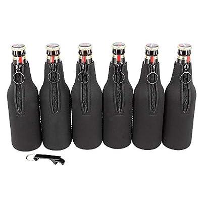 Sunkey Beer Bottle Insulator Sleeve Neoprene Ring Zipper 6 Pack with Bottle Opener for 12 oz/330 ml Bottles